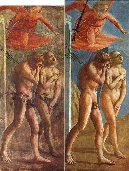 452px-Masaccio-TheExpulsionOfAdamAndEveFromEden-Restoration